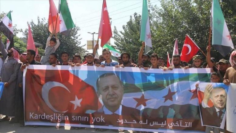 1تجمع حاشد لأهالي عفرين السورية تعبيرا عن شكرهم لتركيا وأردوغان